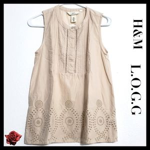 H&M L.O.G.G:Size:4/ Beige Embroider Tunic Top